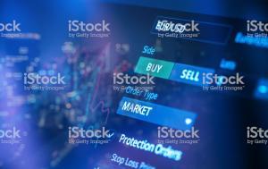 Financial trading chart at digital display